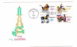 1970 USA Christmas 6c Block First Day Cover - 1961-1970