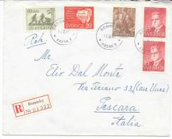 SVERIGE SWEDEN 1954 GRUNDSUND To ITALY PAR AVION - Cartas