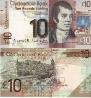 """SCOTLAND  10 Pounds  Clydesdale Bank   PNew  """"NEW DATE""""   25th Jan  2014    UNC - [ 3] Scotland"""