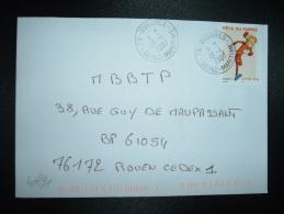 LETTRE TP FETE DU TIMBRE 20g OBL.13-1-2007 76-GUEURES (76 SEINE-MARITIME) - Marcophilie (Lettres)