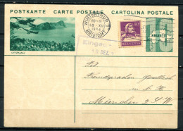 """Schweiz 1934 Bildpostkarte Mi.Nr.P159,10 Rappen Grün M.Zusatz""""Vitznau""""bef.""""Winterthur-München""""1 GS Used,bef. - Entiers Postaux"""