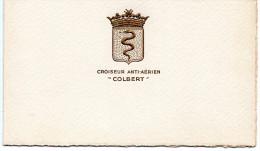 """CROISEUR  ANTI AERIEN   """"COLBERT """"  EN DEUX PAGES 11X14CM - Militaria"""