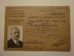 CARTE DU COMBATTANT MR GIACOMINI? 1934 PARIS NE EN 1871 - Documents