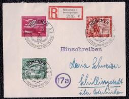 """DEUTSCHES REICH 1944 - REGISTERED LETTER MUNCHEN > SCHILLINGSTADT - AIR STAMPS With """" Deutschland Wird Siegen """" - Allemagne"""