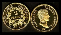 ★★ COPIE PLAQUEE OR DE L´INTROUVABLE 2 FRANCS AN 12 W LILLE : NAPOLEON PREMIER CONSUL ★★ - I. 2 Francs