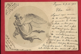 PBC-24  Ange Portant Deux Enfants Dans Ses Bras. Précurseur, Cachet Payerne 1901 - Anges