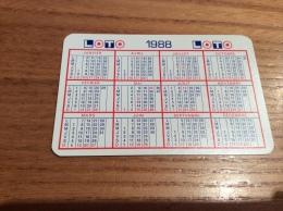 """Calendrier * 1988 Format Carte à Jouer """"LOTO"""" (5,5x8,5cm) - Petit Format : 1981-90"""