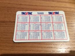 """Calendrier 1988 Format Carte à Jouer """"TACOTAC"""" (5,5x8,5cm) - Calendriers"""