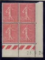 CD0115    N°201 - 65c Rose Semeuse - Coin Daté 23/9/24 ** (1 Point De Rouille)