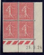 CD0116    N°201 - 65c Rose Semeuse - Coin Daté 25/9/24 **