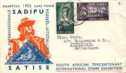 1952  SADIPU Stamp Exhibition FDC  To Switzerland - South Africa (...-1961)