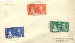 1937  George VI Coronation  Set On FDC To UK  SG 128-130 - Kenya, Uganda & Tanganyika