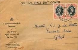 1953  Elizabeth II Coronation  Pair On Officiial FDC - Kenya, Uganda & Tanganyika