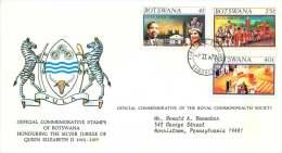 Queen Elizabeth Silver Jubilee  Complete Set On FDC To USA - Botswana (1966-...)