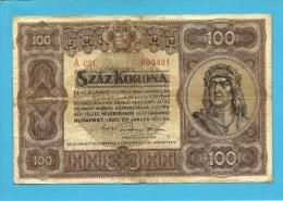 HUNGARY - 100 Korona - 1942 - Pick 63 - ( 155 X 100 ) Mm - STATE NOTES OF THE MINISTRY OF FINANCE - 2 Scans - Ungarn