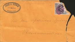 G)1887 PERU, COAT FOR ARMS, BARREL PINK CANC., CIRCULATED COVER FROM ICA TO HUANCAVELICA, F - Peru