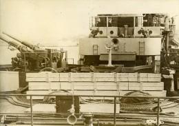 France Bateau Militaire Dans La Rade De Toulon Canons Ancienne Photo 1930's