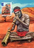 Australia 2011 Joint Issue With Korea $1.65 Aboriginal Didgeridoo Player Maximum Card - Cartas Máxima