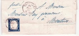 1857- Lettre De Chambery  Pour Moutiers  Affr. Sassone N°15 E  Pli D'archive - 1849-1876: Période Classique