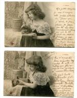 Lot De 5 Cartes : Fille Avec Son Favori Le Chat Pour Famille Péladé à Marnay Sur Seine  1905   VOIR   DESCRIPTIF  §§§§ - Fantasia