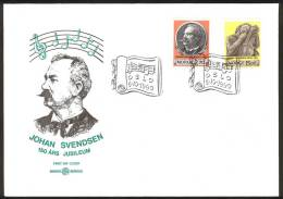 NORWAY FDC 1990 «Composer Johan Svendsen». Perfect, Cacheted Unadressed Cover - FDC