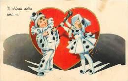 I DUE PIERROT CON IL CHIODO DELLA FORTUNA AMOROSA. SIMPATICA ILLUSTRAZIONE.VIAGGIATA 1938 - San Valentino