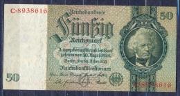 Germany - 1933- 50 Mark   O/C  -    (XF/ VF ) .P-182a ...R 175a - 50 Reichsmark