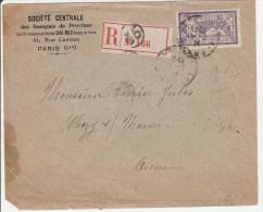 Merson Perforé SC Sur Lettre Recommandée 1924 - Société Centrale Des Banques De Province - Paris 35 - 2 Scans - France