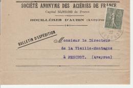 Semeuse Perforé AFA Aciéries De France 1922 - Aubin Aveyron - France