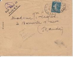 Semeuse Perforé Petit C Sur Lettre Paris 1920 - Boite 12 V - Perforés