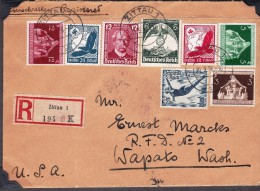 1936 REICH REGISTERED COVER ZITTAU TO WAPATO (USA) GREAT FRANKING (2 SCANS) RRR GERMANY ALEMANIA ALLEMAGNE - Deutschland