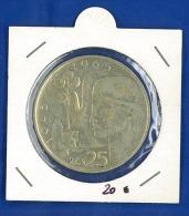 Cecoslovacchia, Repubblica Socialista (1960-1989): 25 Corone 1965  - ARGENTO  FDC - UNC - PATINA ORIGINALE NON PULITA - Cecoslovacchia