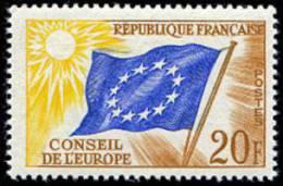 France - Timbre De Service N°   18 ** Conseil De L Europe - 20frs Ocre, Bleu Foncé Et Jaune Pâle - Neufs