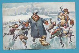 CPA Série 1089 (6 Dessins) Jeux D´hiver Patins à Glace Homme Femme Enfants Chien Dog  Ill. A. THIELE - Thiele, Arthur