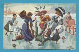 CPA Série 1089 (6 Dessins) Jeux D´hiver Patins à Glace Homme Femme Enfants Ill. A. THIELE - Thiele, Arthur
