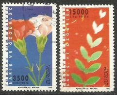 TURKEY 1995 - Mi. 3047-48 O, Cloves   Olive Tree Leaves, Peace Doves   Europa Cept (Peace And Freedom) - 1921-... Republiek