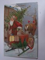 PERE NOEL GAUFRE SAPIN TRAINEAU RENNE - Noël