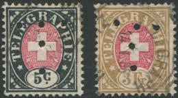 730 - Zwei Telgraphenmarken Mit Perfin T