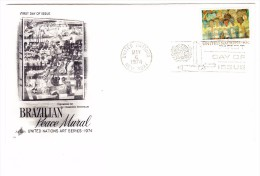 1974 United Nations Brazilian Peace Mural 10c First Day Cover - New York - Sede Centrale Delle NU