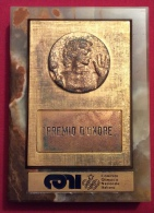 MEDAGLIA - PREMIO D'ONORE CONI COMITATO OLIMPICO NAZIONALE ITALIANO - MEDAGLIA DI GRECO SU BASE DI GRANITO - D. 9x12 - Professionali/Di Società
