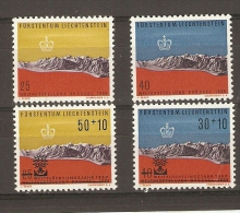 Liechstenstein - Expo Bruxelles 1958 - Surcharge Année Mondiale Du Réfugie 1960 - 4 Timbres MNH - Liechtenstein