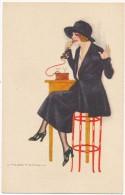 NANNI - Femme Au Téléphone - Illustrateur, Italie - Nanni