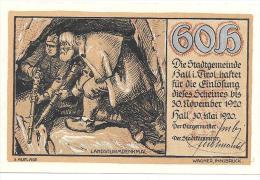 **Austria Notgeld  Hall   60 Heller + 4 Kronen Aufl 3 Km 342c Rare !!! Catalog Val 16,00 - Austria