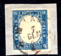 Y509 - REGNO 1863 , Matraire 15 Cent N. 11 Usato . Un Lato Corto - 1861-78 Vittorio Emanuele II