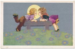 Adolfo BUSI - Couple D´Enfants, Lune - Illustrateur, Italie - Busi, Adolfo