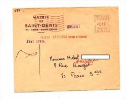 Lettre Flamme Ema Muette Saint Denis Entete Mairie - EMA (Empreintes Machines à Affranchir)