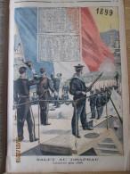 Gravure  Calendrier  1899 Salut Au Drapeau   Marine De Guerre  Marin  Dessin De Rudaux Meaulle - Big : ...-1900