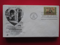 """1964 USA - Scott # 1253 - """"American Homemakers"""" (Smith-Lever Act 50th Anniv.) -  FDC (Handicrafts)(Farm Animals) - First Day Covers (FDCs)"""