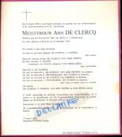 Doodsbrief Faire Part Overlijden - Juffrouw Ann De Clercq - Kortrijk 1962 - Ongeval Zoersel Schilde 1979 - Vieux Papiers