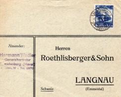 ALLEMAGNE LETTRE DE BRANDENBURG POUR LA SUISSE THEME TRAIN 1935 - Germania
